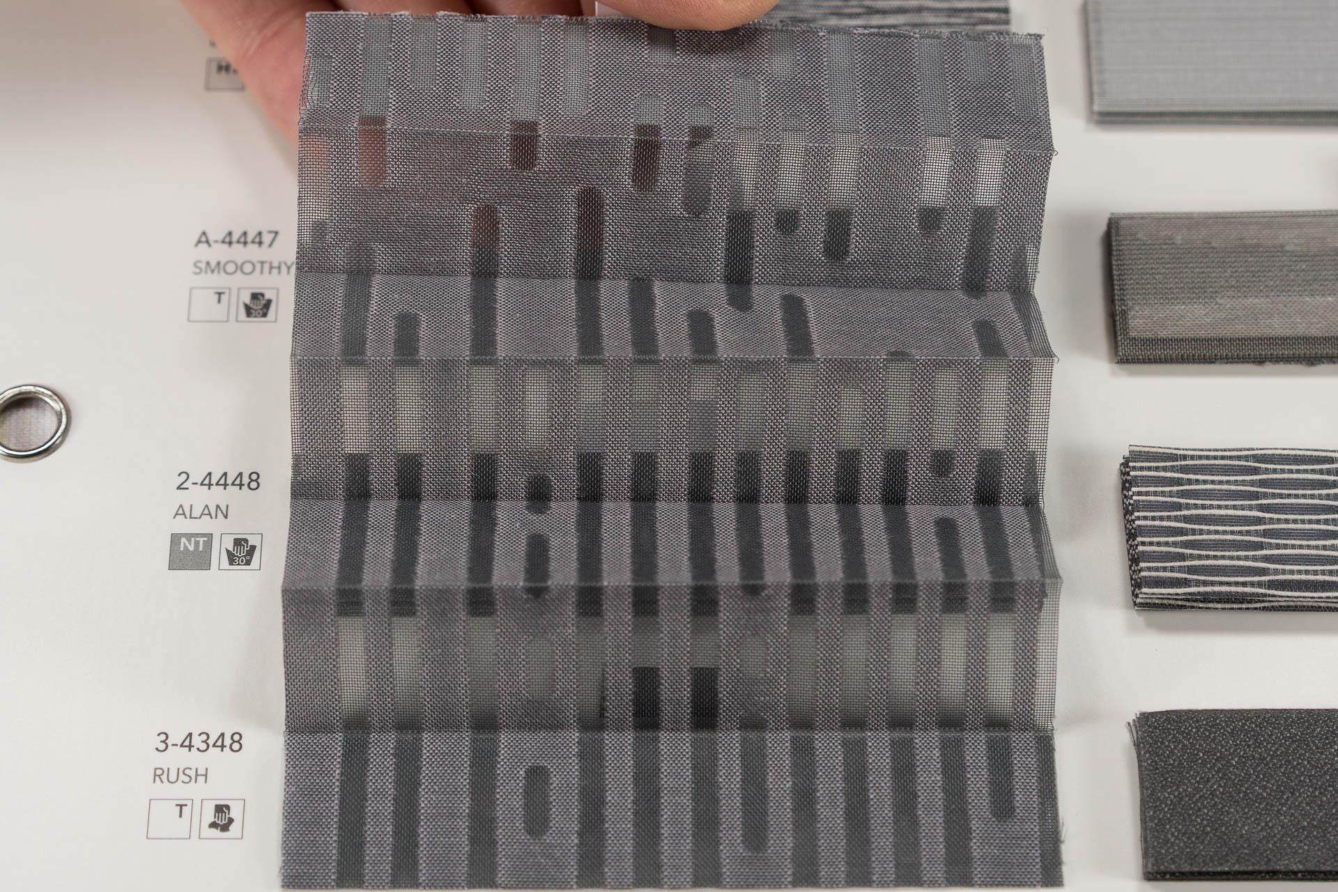 "MHZ Plissee Stoff Muster aus der Farbkarte ""10 dramatic grey"" | Material: 70 % PES / 30 % CV"