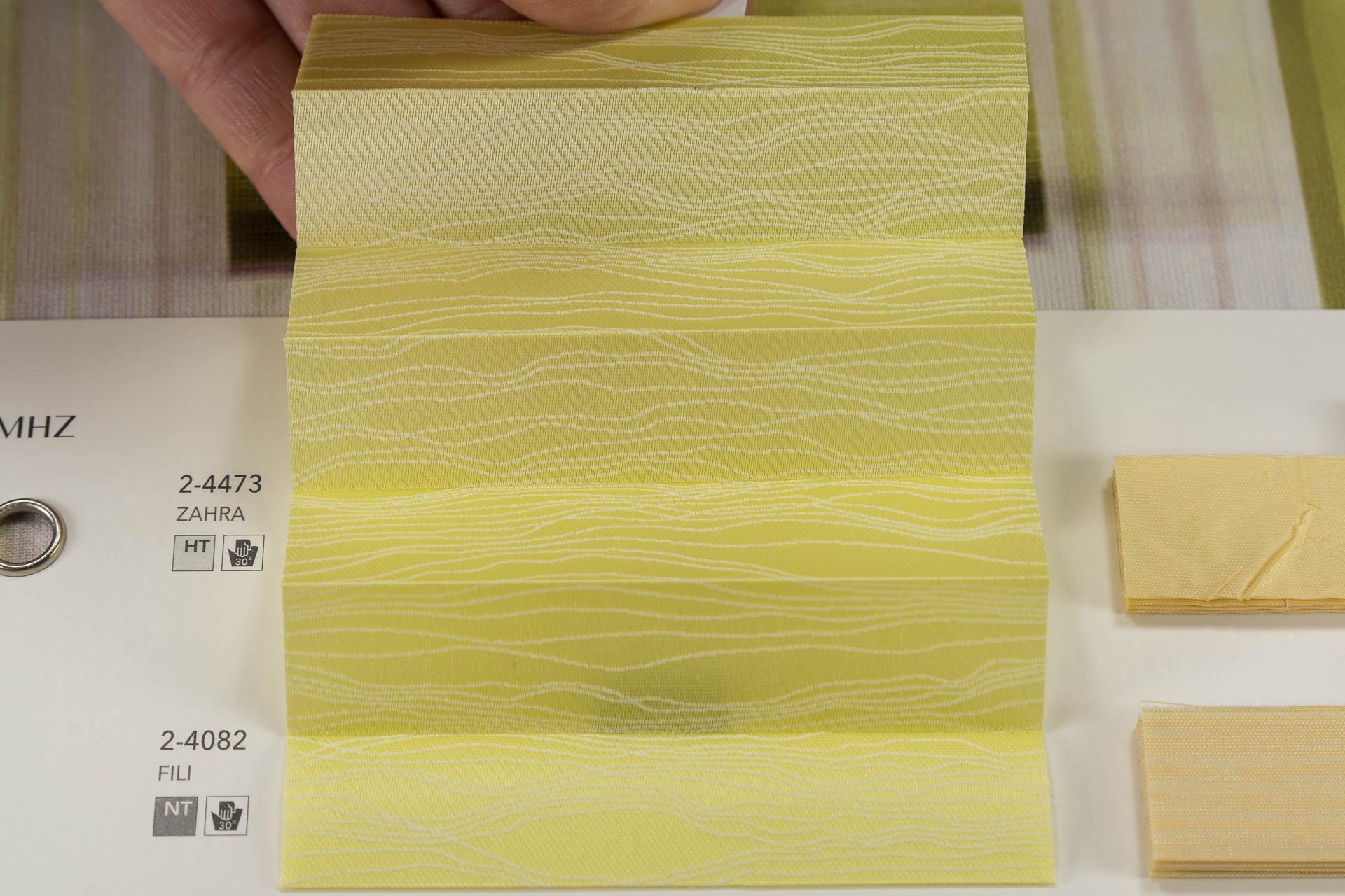 "MHZ Plissee Stoff Muster aus der Farbkarte ""13 sunny attitude"" | Material: 100 % PES"