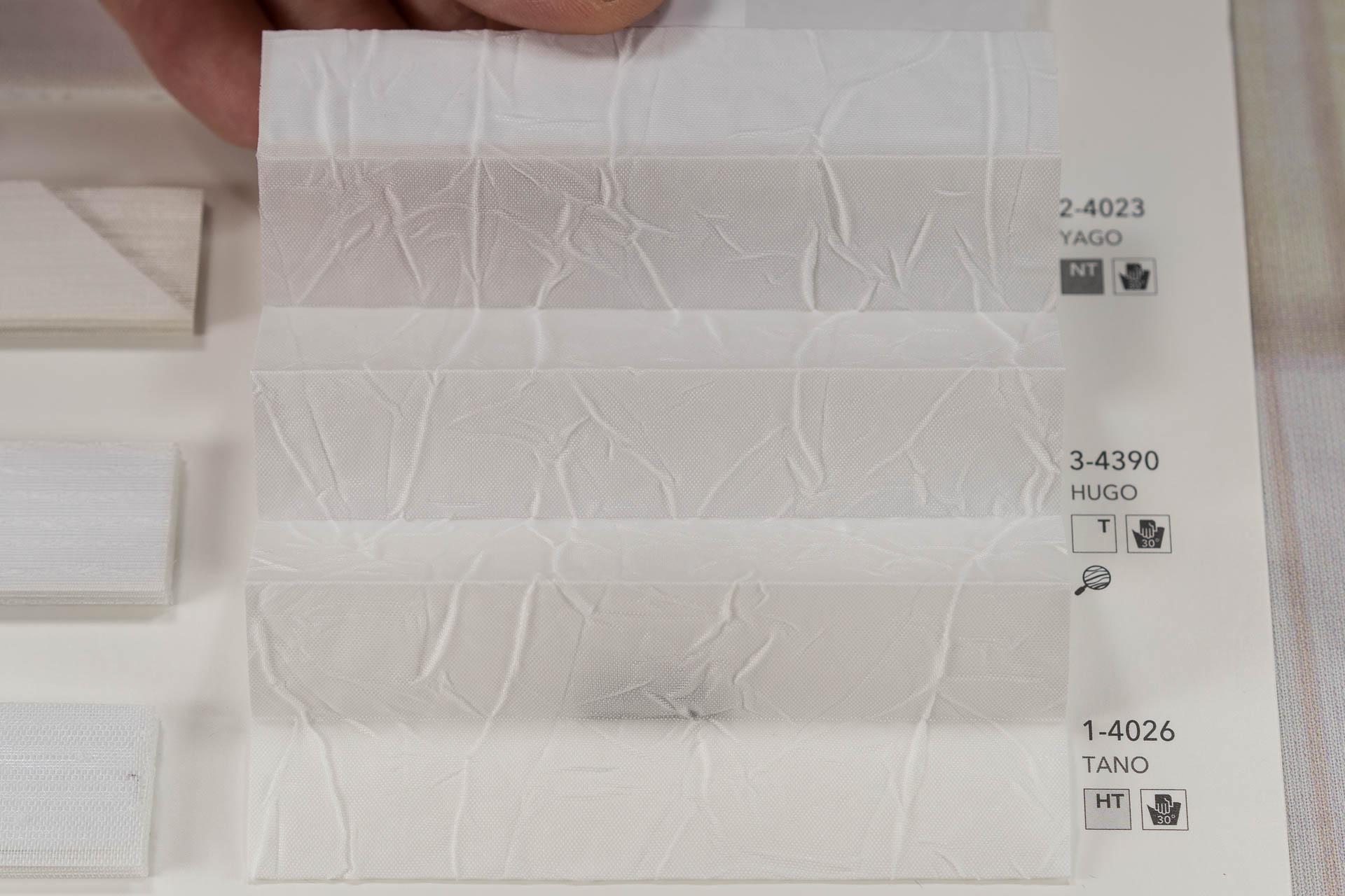 "MHZ Plissee Stoff Muster aus der Farbkarte ""3 white styles"" | Material: 100 % PES"